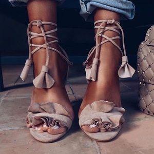 Black squiggle tie up heels